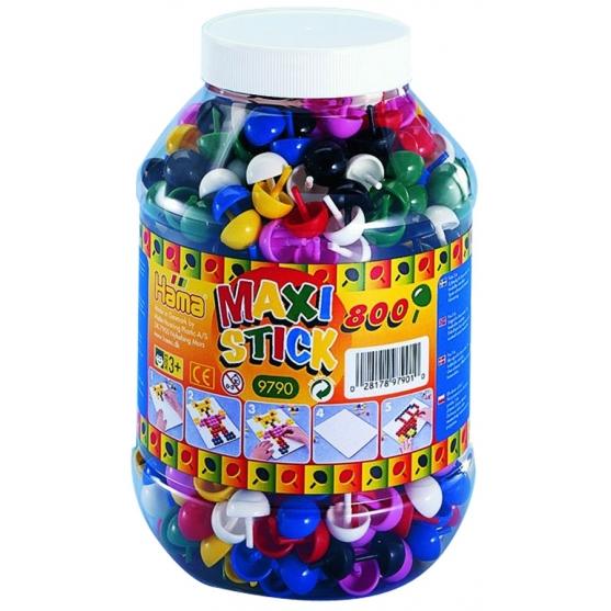bote 800 piezas (7 colores) hama maxi stick
