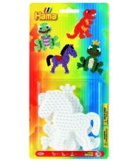 blister 3 placas pegboards (poni, dinosaurio, rana principe) para hama beads midi