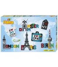 pack de inicio ciudades (6000 piezas y 3 placas pegboards) hama beads midi