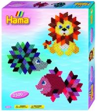 pack colgador animales de diamante (2.500 piezas, colgador y 1 placa pegboard) hama beads midi
