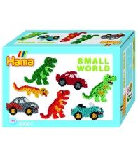 pack de inicio pequeño mundo coche y dinosaurio (2000 piezas y 2 placas pegboards) hama beads midi