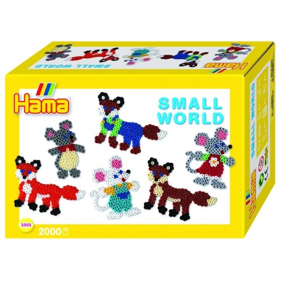 pack de inicio pequeño mundo zorro y ratón (2000 piezas y 2 placas pegboards) hama beads midi