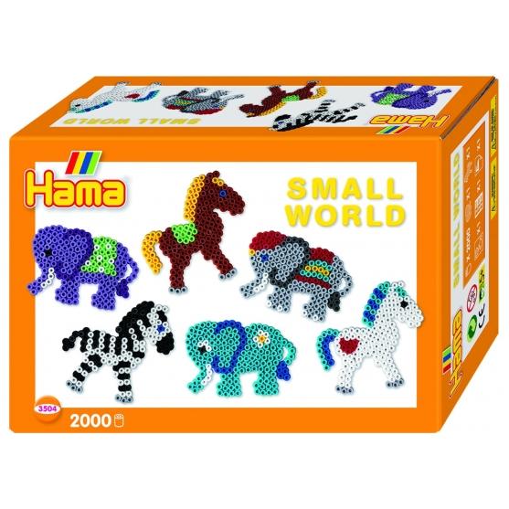 pack de inicio pequeño mundo elefante y poni (2000 piezas y 2 placas pegboards) hama beads midi