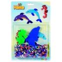 blister delfín y caballito de mar (1100 piezas y 2 placas pegboards) hama beads midi