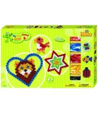 pack de inicio corazón y estrella (900 piezas y 2 placas pegboards) hama beads maxi