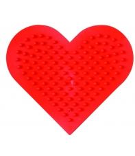 placa pegboard corazón pequeño roja para hama beads midi