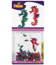 blister bicolor caballito de mar (350 piezas y 1 placa pegboard) hama beads midi