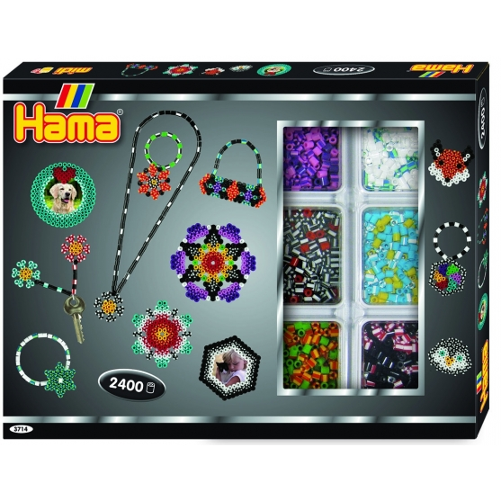 pack de inicio actividades (2400 piezas, organizador y 2 placas pegboards) hama beads midi