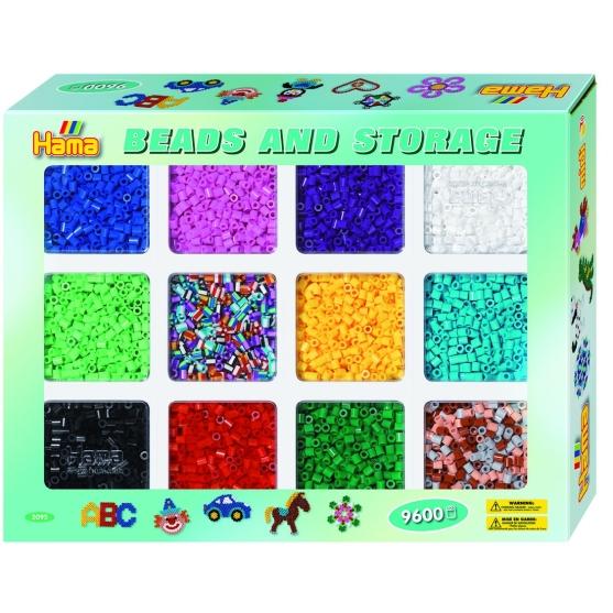 pack (9600 piezas y organizador) hama beads midi