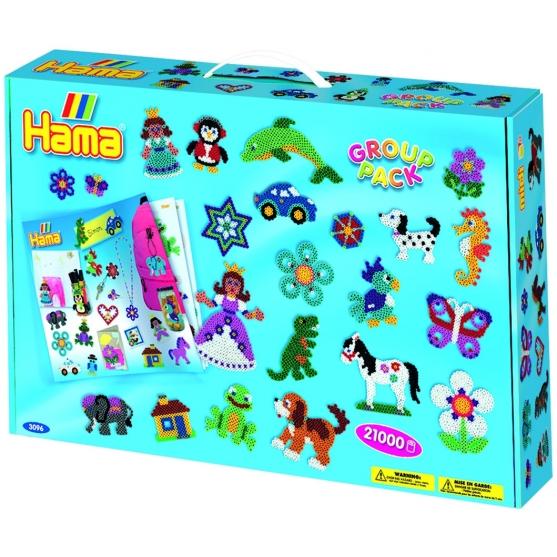 pack para grupos (21000 piezas y 21 placas pegboards) hama beads midi