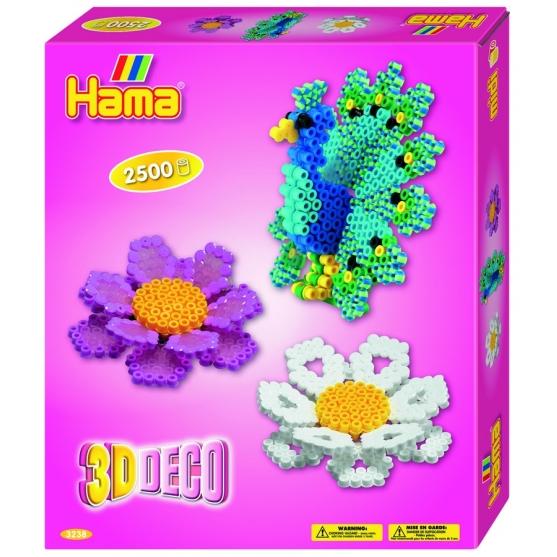 pack de inicio 3d deco (2500 piezas, adhesivo reutilizable, 1 soporte y 1 placa pegboard) hama beads midi