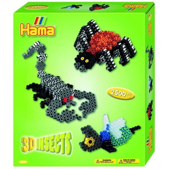 pack de inicio insectos 3d (2500 piezas, adhesivo, 2 soportes y 2 placas pegboards) hama beads midi