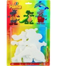 blister 3 placas pegboards (cocodrilo, hipopótamo y delfín) para hama beads midi