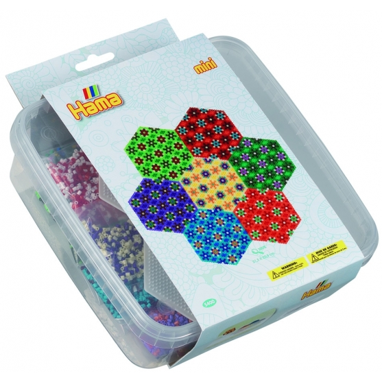 pack mosaico hexagonal (10500 piezas y 2 placas pegboards) hama beads mini