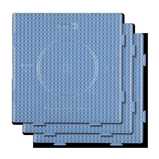 pack 3 placas pegboards cuadradas transparentes 15x15 cm conectables para hama beads midi