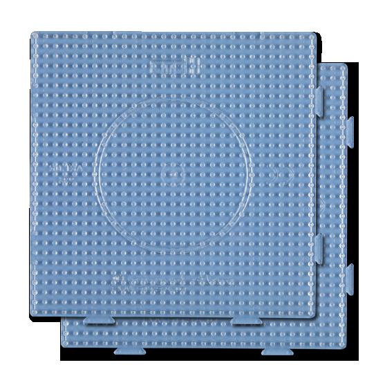 pack 2 placas pegboards cuadradas transparentes 15x15 cm conectables para hama beads midi