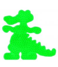 placa pegboard cocodrilo verde fluorescente para hama beads midi