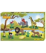 pack de inicio safari 2 (5000 piezas,16 soportes y 5 placas pegboards) hama beads midi