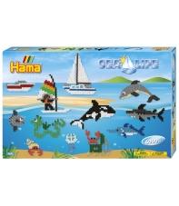 pack de inicio mundo marino 2 (6000 piezas y 3 placa pegboards) hama beads midi