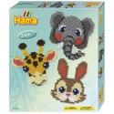 pack de inicio caras de animales (2500 piezas y 1 placa pegboard) hama beads midi