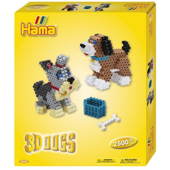 pack de inicio perros 3d (2500 piezas, adhesivo y placa pegboard) hama beads midi