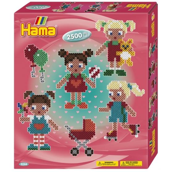 pack de inicio muñecas (2500 piezas y 1 placa pegboard) hama beads midi