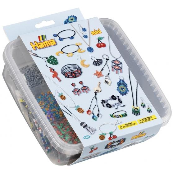 pack mosaico avalorios (10500 piezas, adhesivo, cordón y 2 placas pegboards) hama beads mini