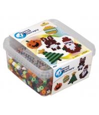 pack de inicio therapy navidad (900 piezas y 1 placa pegboard) hama beads maxi