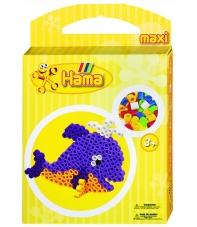 pack de inicio ballena (350 piezas, 1 soporte y placa pegboard) hama beads maxi