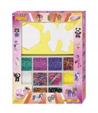 pack de inicio gigante rosa (7200 piezas, 6 soportes, organizador, 2 placas pegboards y 2 accesorios de presión) hama beads midi