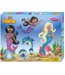 pack de inicio sirenas (4000 piezas, 4 soportes y 2 placas pegboard) hama beads midi