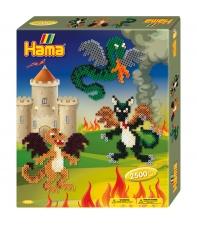 pack de inicio dragones (2500 piezas y 1 placa pegboard) hama beads midi