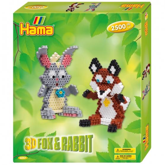 pack de inicio zorro y conejo 3d (2500 piezas, adhesivo, cuerda y placa pegboard) hama beads midi