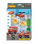 pack de inicio bomberos (2000 piezas, 4 soportes de pie y placa pegboard) hama beads midi