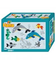 pack de inicio pequeño mundo delfines (2000 piezas y 1 placa pegboard) hama beads midi