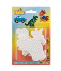 blister 3 placas pegboards (coche, loro y dinosaurio pequeñas) para hama beads midi