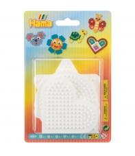 blíster 5 placas pegboards (cuadrada, redonda, hexagonal, corazón y estrella pequeñas) para hama beads midi