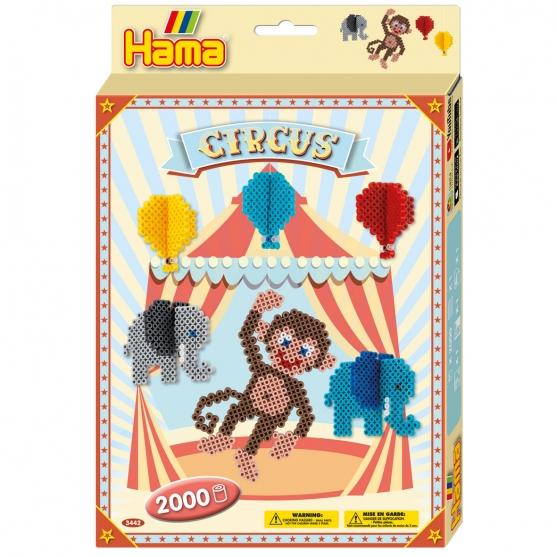 pack de inicio circo (2000 piezas y placa pegboard) hama beads midi