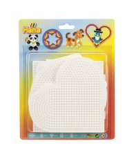 blíster 4 placas pegboards (cuadrada, circulo, hexágono y corazón grandes) para hama beads midi