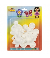 blister 3 placas pegboards (mariposa, flor y muñeca) para hama beads midi