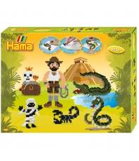 pack de inicio aventuras (4000 piezas y 2 placas pegboards) hama beads midi