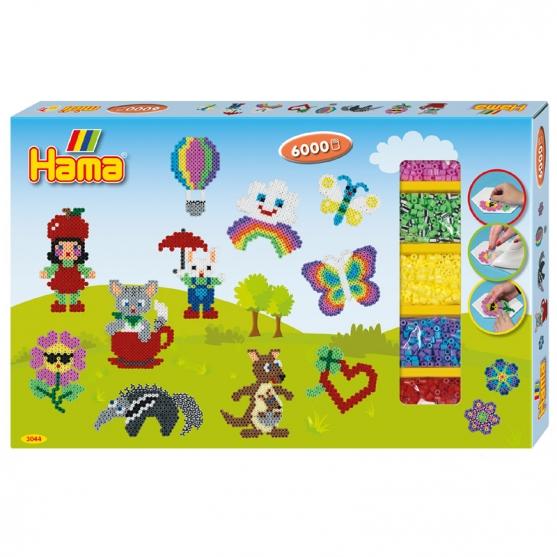 pack de inicio (6000 piezas y 3 placas pegboards) hama beads midi