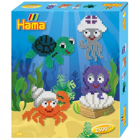 pack de inicio criaturas marinas (2500 piezas y 1 placa pegboard) hama beads midi