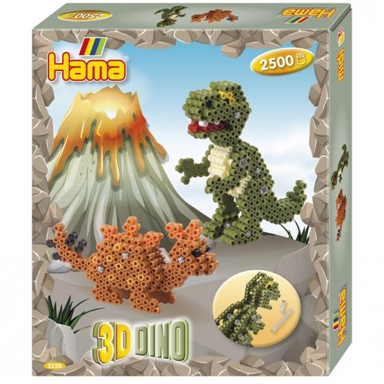 pack de inicio 3d dino (2500 piezas, 2 conectores y 1 placa pegboard) hama beads midi