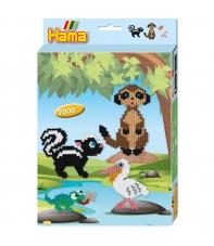 pack de inicio animales (2000 piezas y placa pegboard) hama beads midi