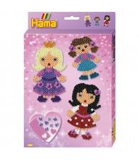 pack de inicio muñecas (2000 piezas, 4 soportes de pie, gemas y placa pegboard) hama beads midi