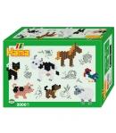 pack de inicio pequeño mundo animales de granja (2000 piezas y  placa pegboard) hama beads midi