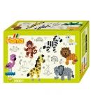 pack de inicio pequeño mundo animales zoo (2000 piezas y placa pegboard) hama beads midi