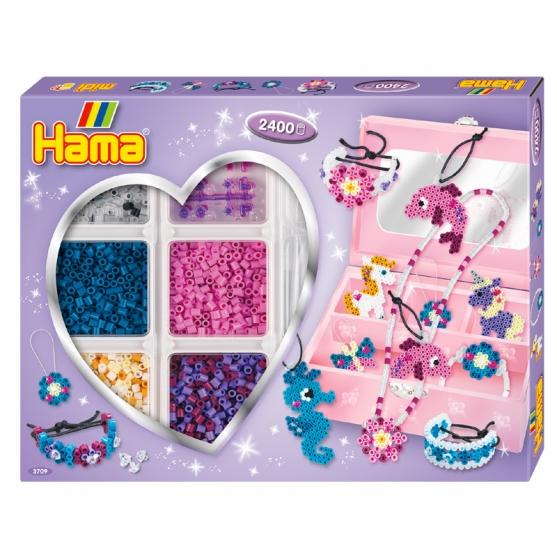 pack de inicio actividades 2 (2400 piezas, organizador y 2 placas pegboards) hama beads midi