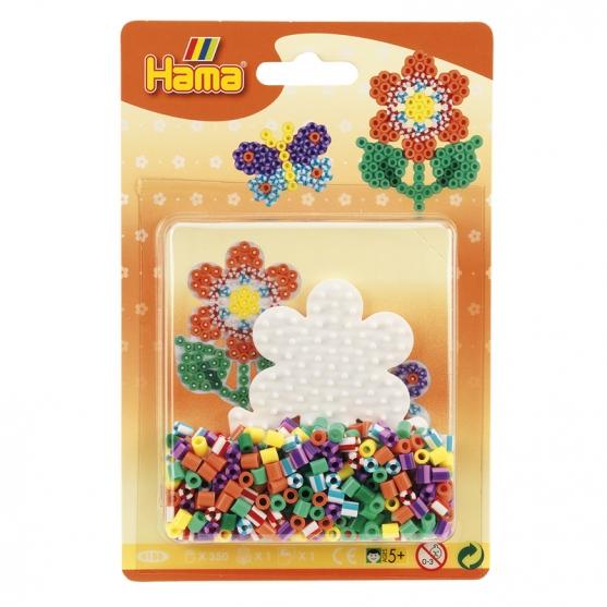 blister bicolor flor (350 piezas y 1 placa pegboard) hama beads midi